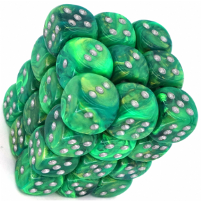 Green & Silver Lustrous 12mm D6 Dice Block